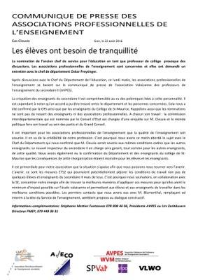 Communiqué de presse des associations d'enseignants FMEP